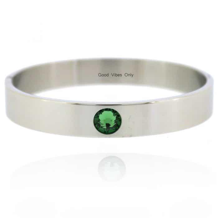 Geboortesteen Armband Mei Smaragd Zilver