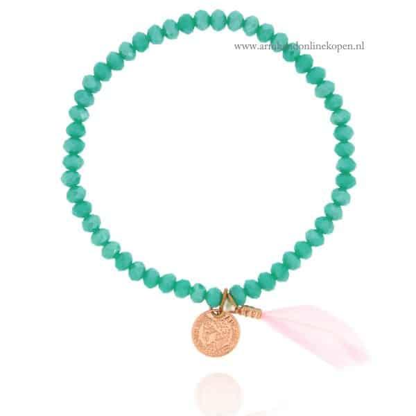 Munt Armbandje Turquoise met rose veertje