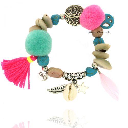 ibiza armband met schelpjes flosje pompon veertjes