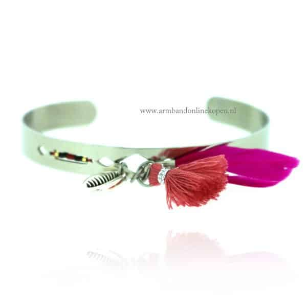 Ibiza Open Armband Tropical Escape Zilver