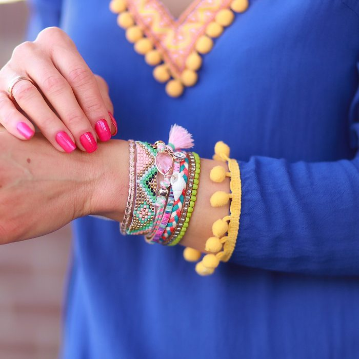 ibiza armband met zacht roze steen