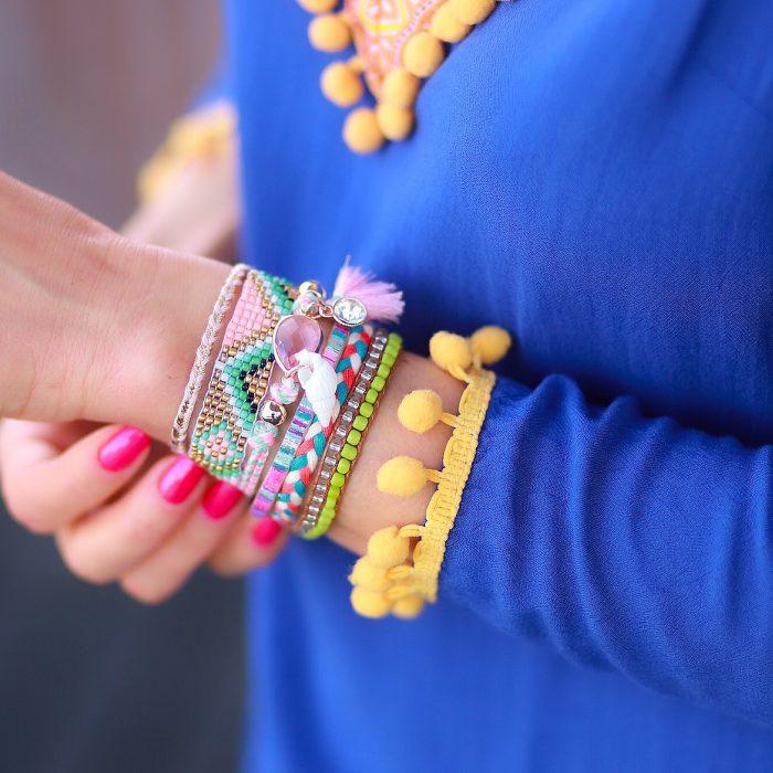 ibiza armband zacht roze steen en schelp