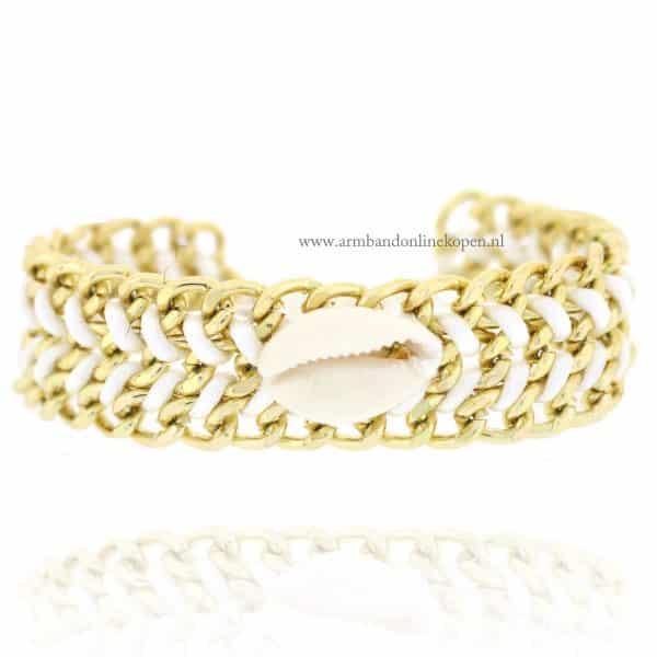 Ibiza Armband met Schelp Wit goud schaklels