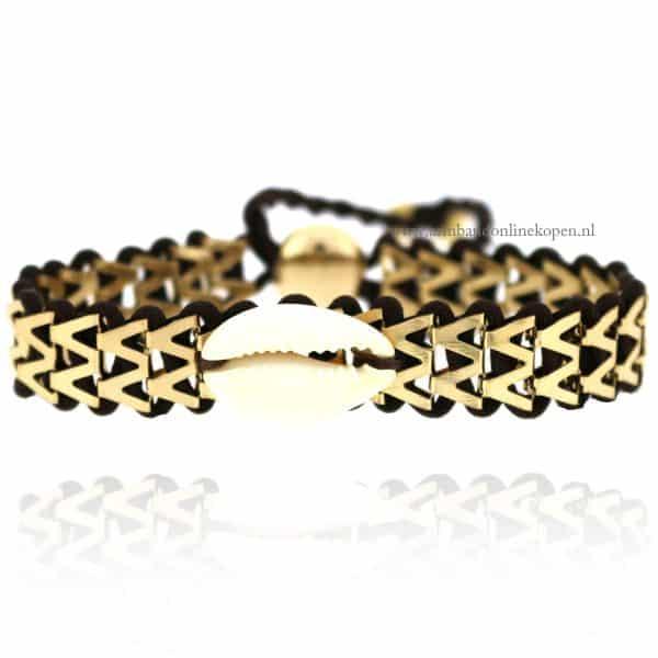 Ibiza Armbandje met Schelpje Bruin