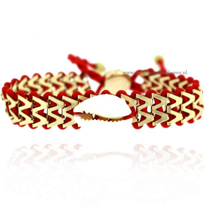 Ibiza Armbandje met Schelpje Rood
