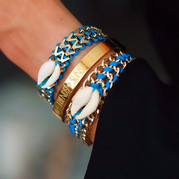 Ibiza Armbandje met Schelpje Turquoise goud