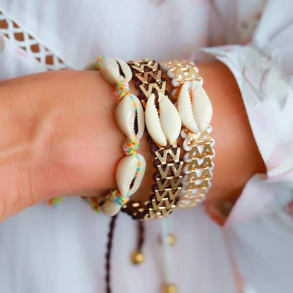 Ibiza Armbandje met Schelpje Wit en bruin armparty