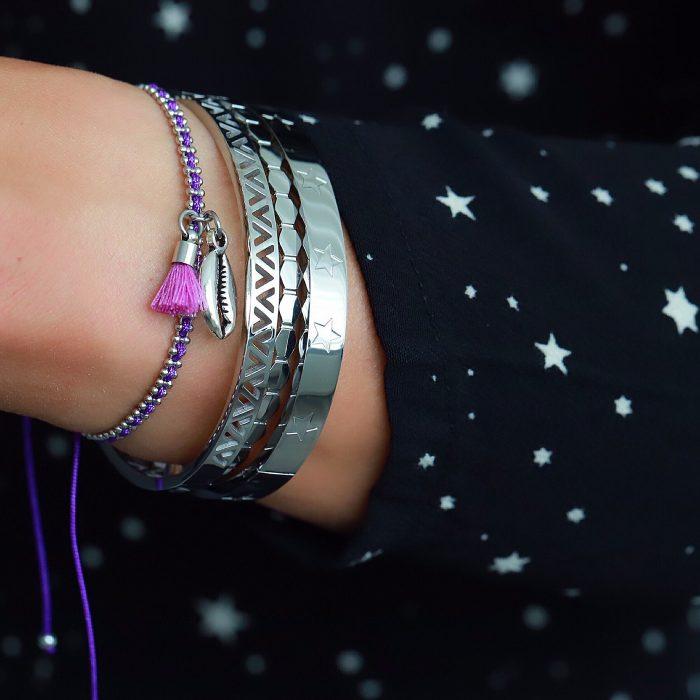 Ibiza Armbandje met Schelpje Paars