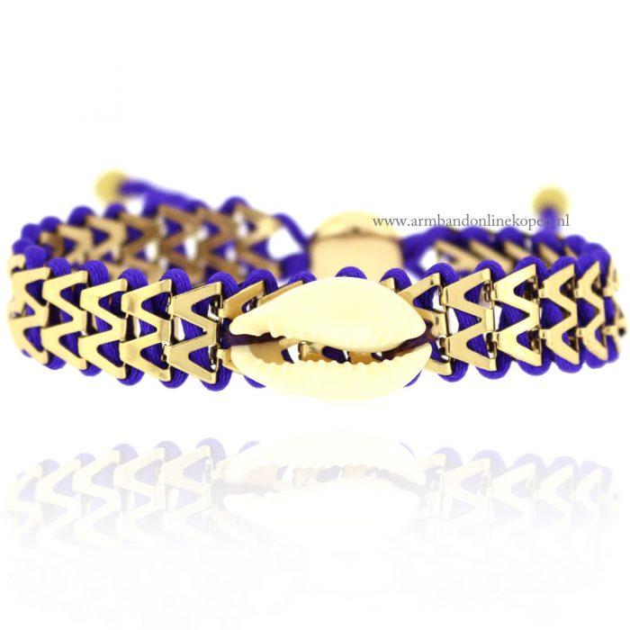 Ibiza Armbandje met Schelpje paars goud