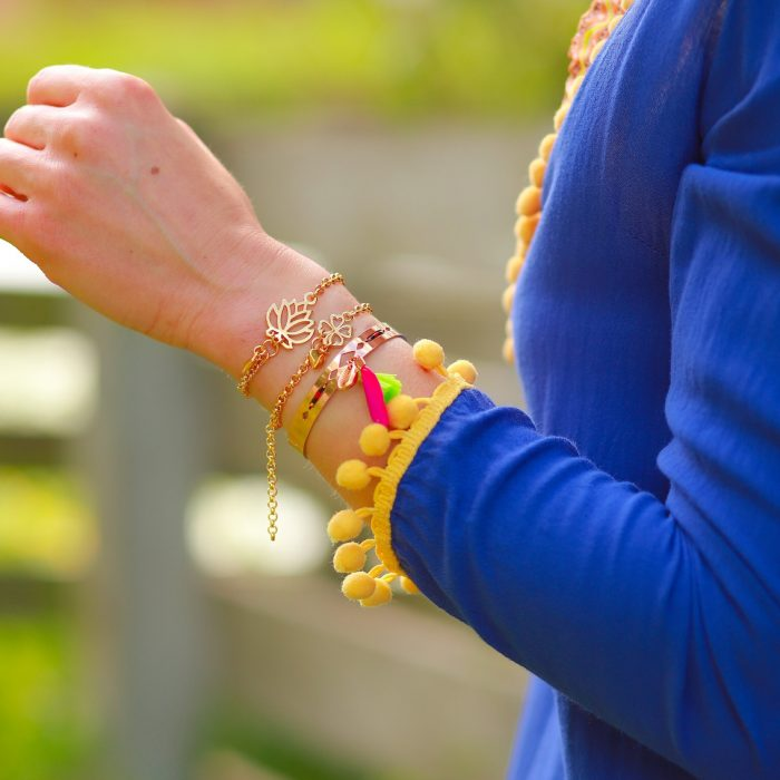 Lostusbloem Armband met hartje goud