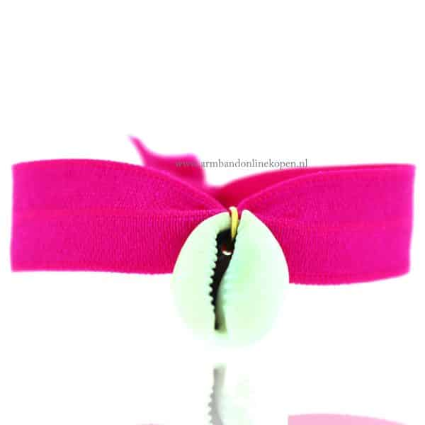 Schelp Armbandje Neon Magenta