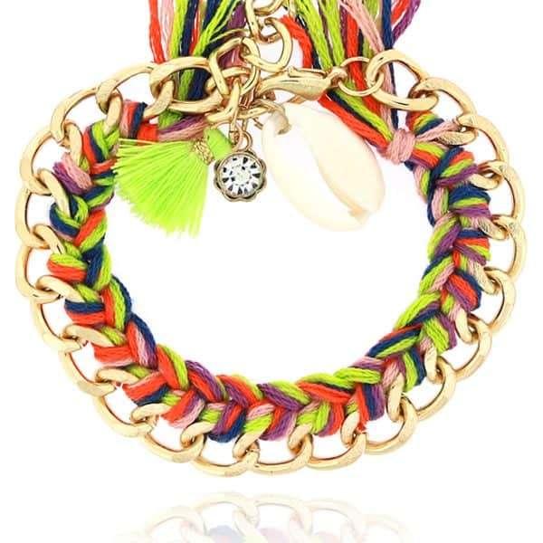 armband met schakels en touw zomer kleurtjes