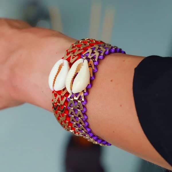 armbanden met schelp rood paars