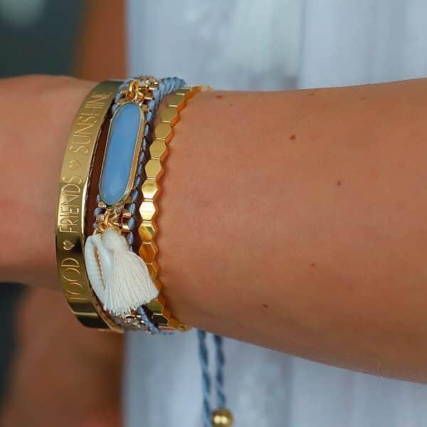 ibiza armband facet steen en schelp