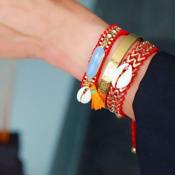 ibiza armband facet steen en schelp rood
