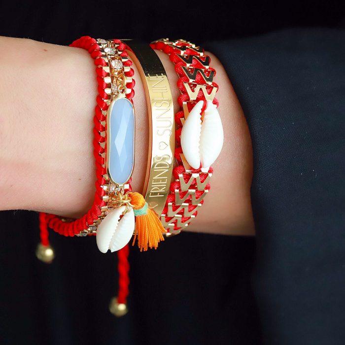 ibiza armband facet steen en schelp rood goud