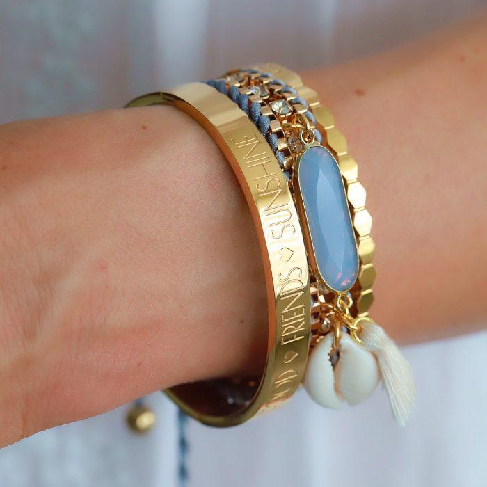 ibiza armband met steen en schelp