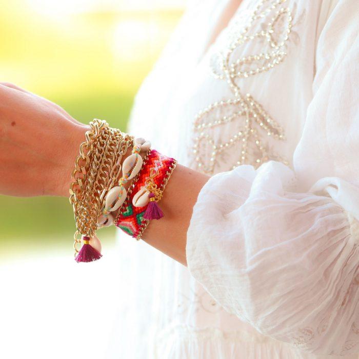 schakels ibiza armbanden met schelpjes