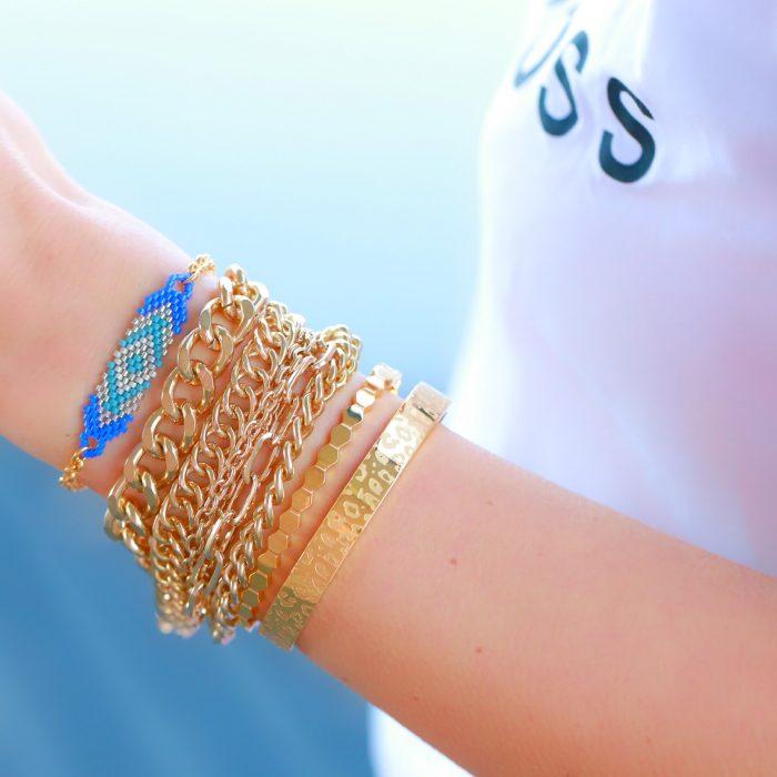 armband kraaltjes blauw zilver goud
