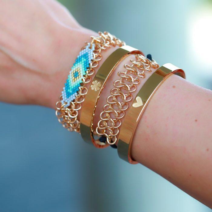 armbanden schakels met kraaltjes armparty