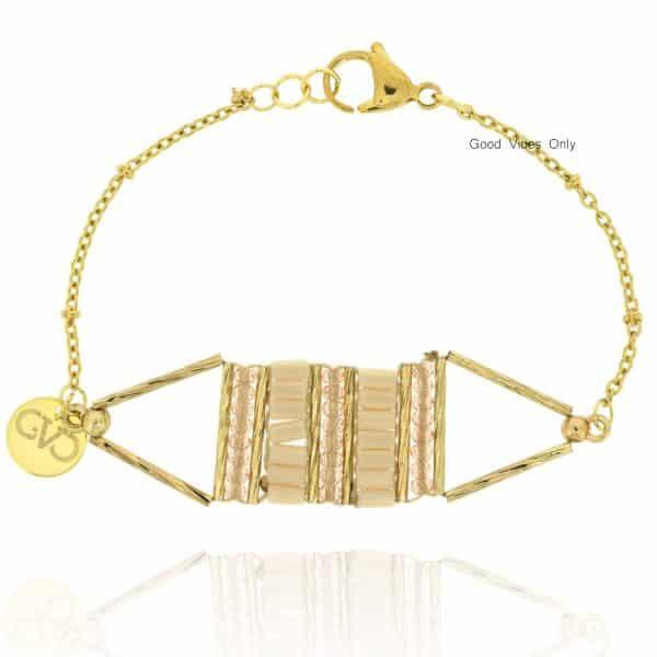 armbandje staal met kralen goud nude