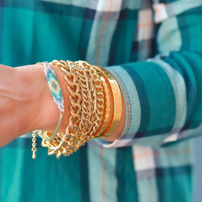 armbandjes met kraaltjes goud mint grijs
