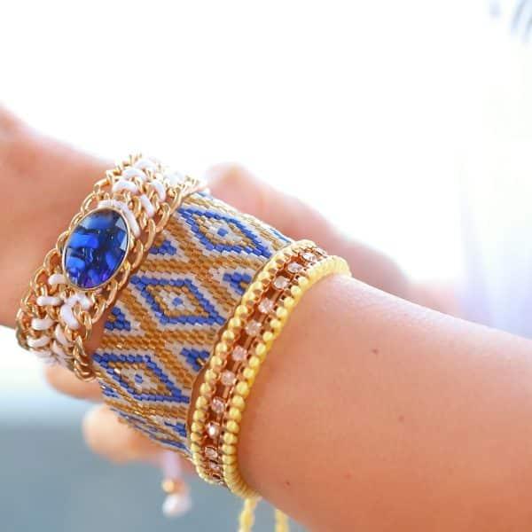 armbandjes set geel blauw steentjes en kraaltjes