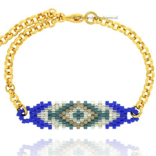 fijne armbandje met kraaltjes blauw goud