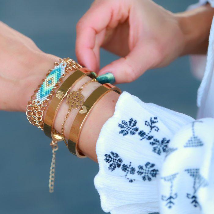 geluks roestvrij staal armbandje goud bloemblaadjes van liefde goud