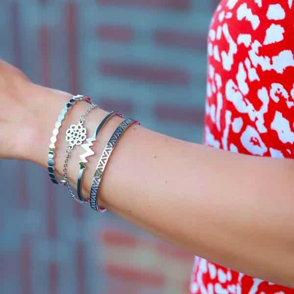 geluks roestvrij staal armbandje goud bloemblaadjes van liefde zilver