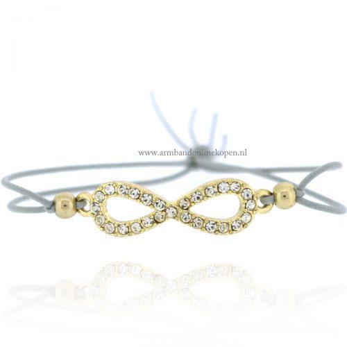 infinity armbandje elastiek grijs