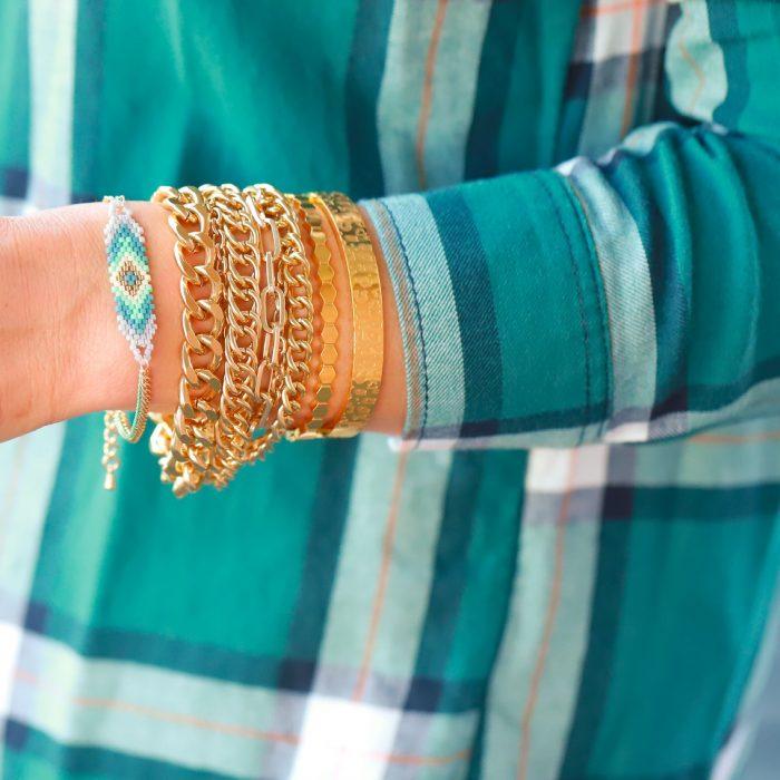 mint grijs goud armbandje met kraaltjes