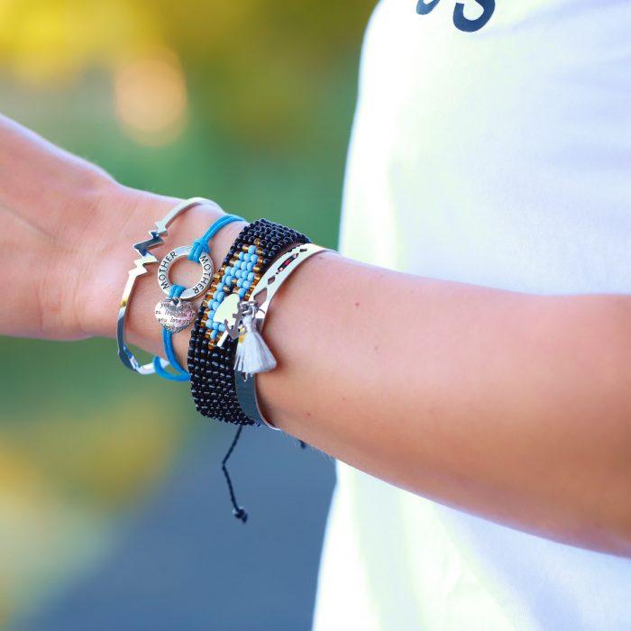moeder dochter armbandje zilver blauw