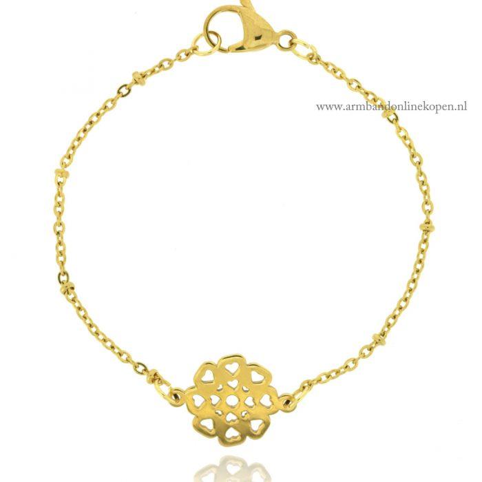 roestvrij staal armbandje goud bloemblaadjes van liefde