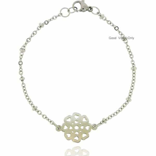 roestvrij staal armbandje goud bloemblaadjes van liefde zilver