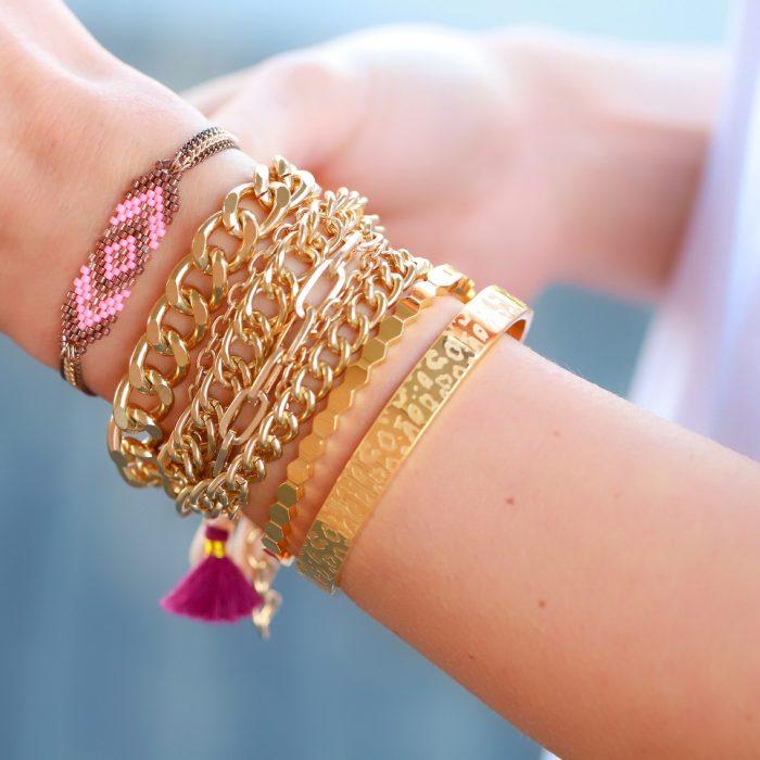 rose goud kraaltjes armband 3 kettingen