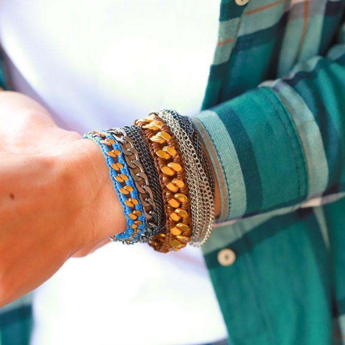 schakels armbanden goud blauw armparty