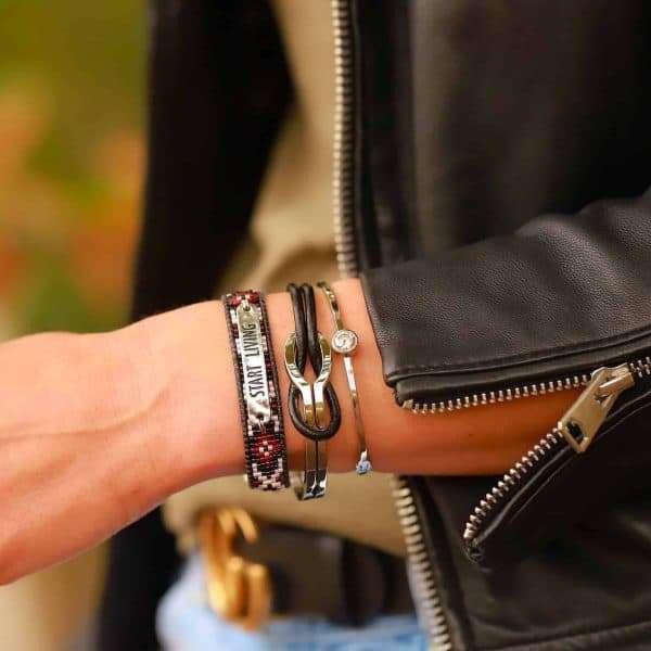 infinity armband leer en staal