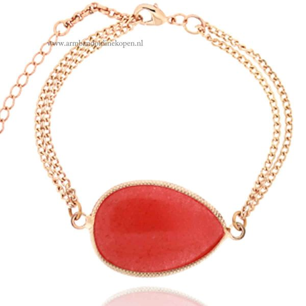 Rose Goud Armbandje met Red Jade Steen
