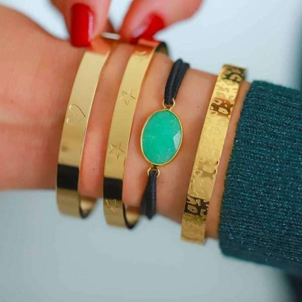 armbandje steen jade groen goud