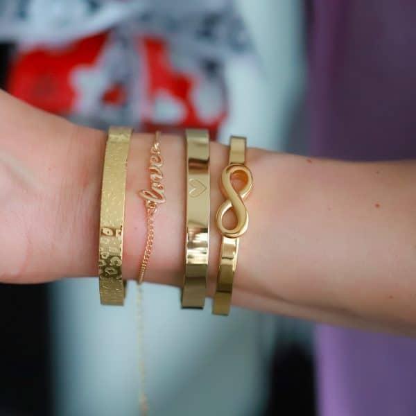 love armbandje staal goud en diep in mijn heart armband