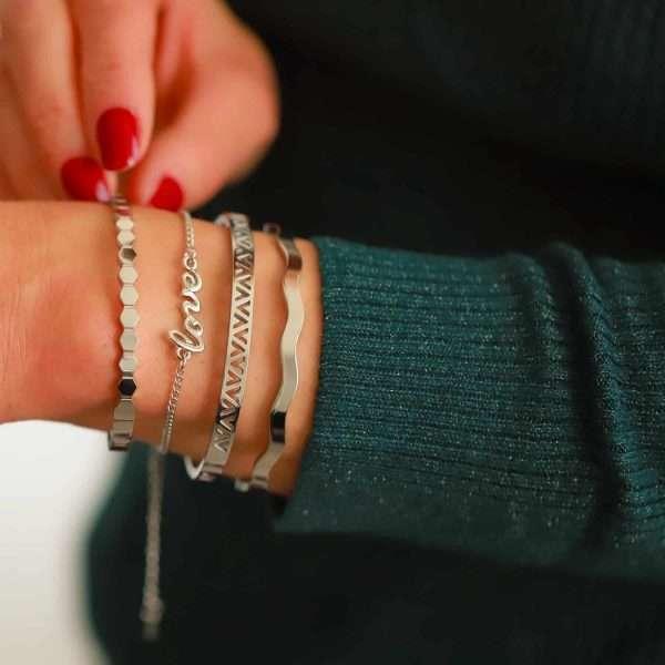 roestvrij staal dames armbandje love tekst