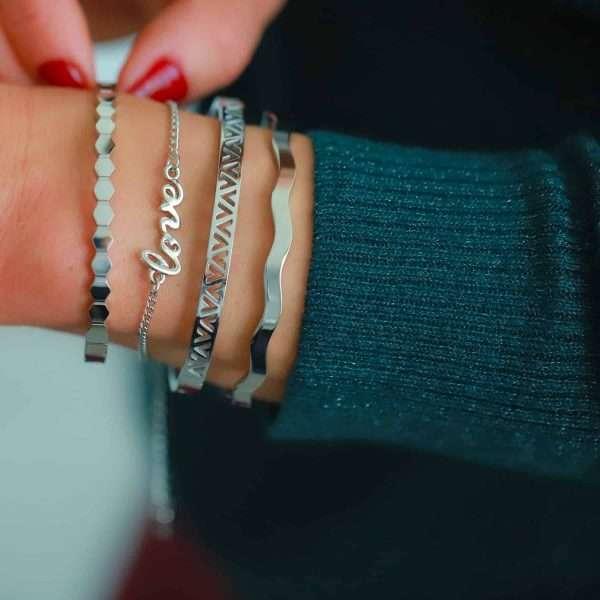 roestvrij staal dames armbandje love tekst zilver