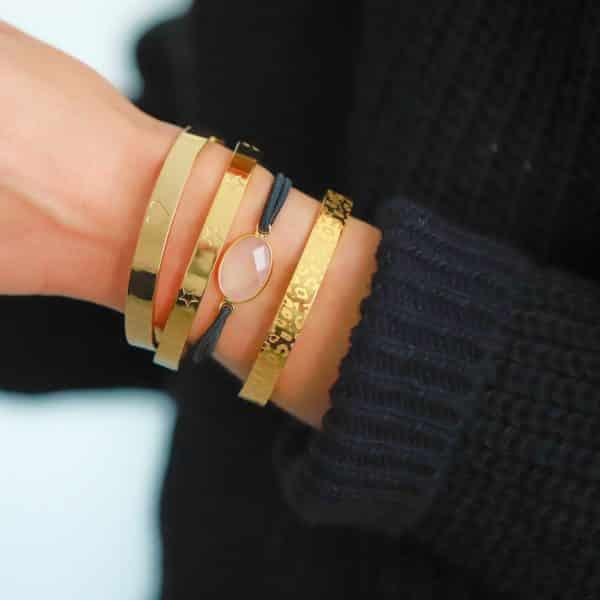roze quartz steen dames armband