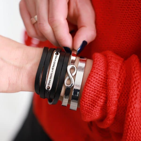 leren armband tekstplaatje where there s a will there s a way