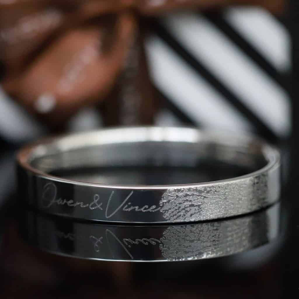 Vingerafdruk Zilveren Armband met namen