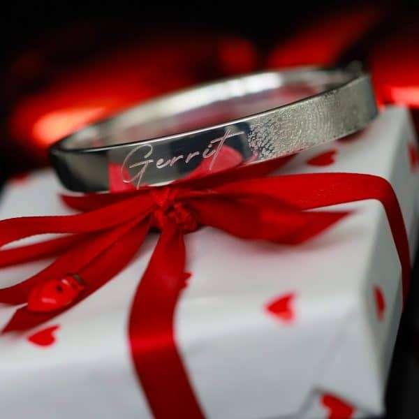 zilveren vingerafdruk armband