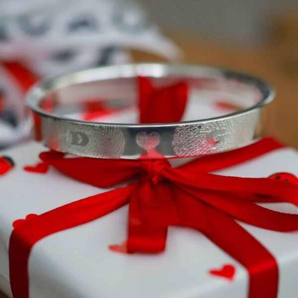 Vingerafdruk Zilver 925 Armband met Naam en Initialen