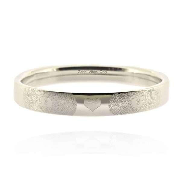 Vingerafdruk Zilver 925 Armband met Naam en Initialen en Hartje
