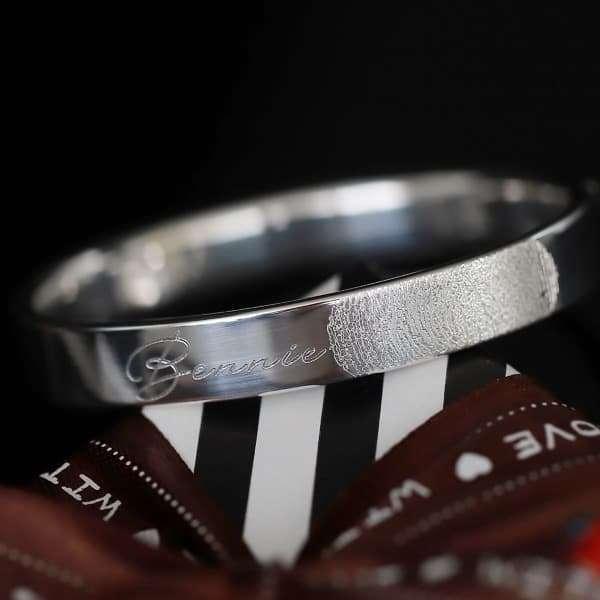 Zilveren armband 925zilver met hartjes en vingerafdruk